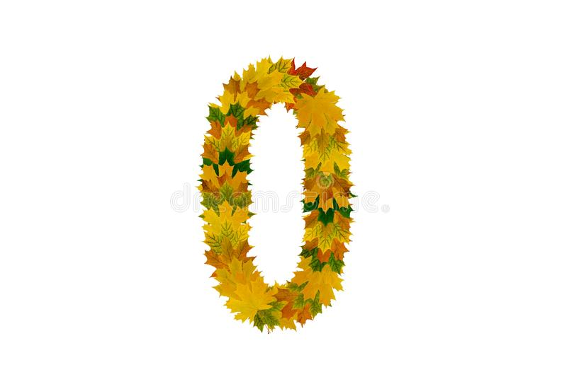 Digit 0 from autumn maple leaves isolated on white background. Alphabet from green, yellow and orange leaves stock photo