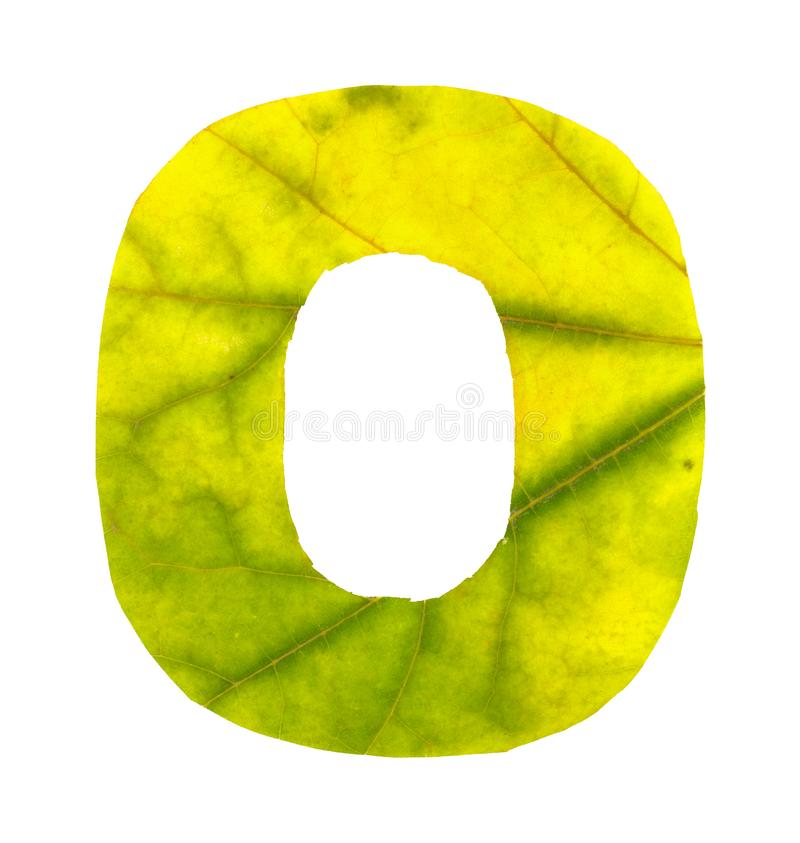 Digit 0 carved of autumn leaves royalty free stock photo