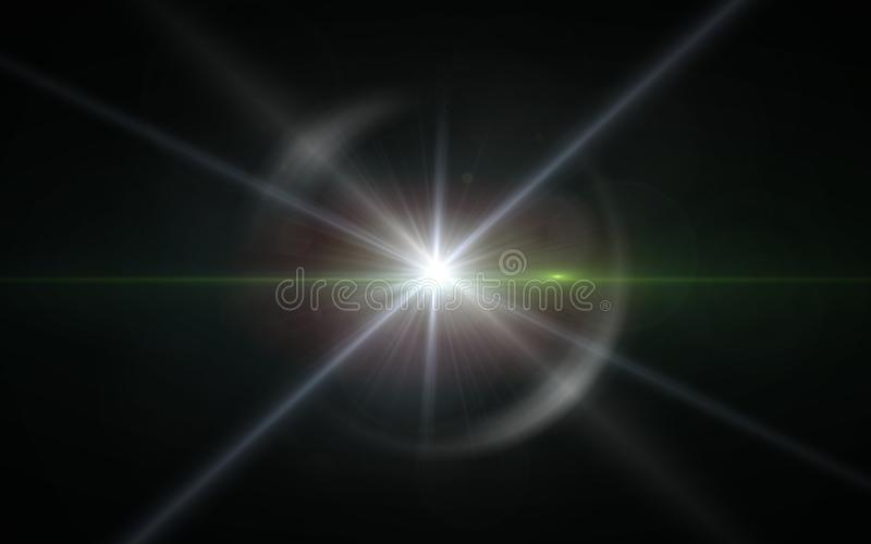 Digit lens flare with bright light in black background used for texture and material.Lens flare or Star flare in black. Background.Modern nature flare effect stock illustration