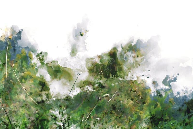 Digitaal abstract schilderij van wilde bloemen, illustratie van waterverfschilderij royalty-vrije illustratie