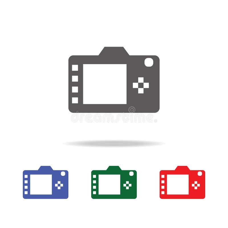 Digitaal achter de vertoningspictogram van de fotocamera Elementen van fotocamera in multi gekleurde pictogrammen Grafisch het on royalty-vrije illustratie