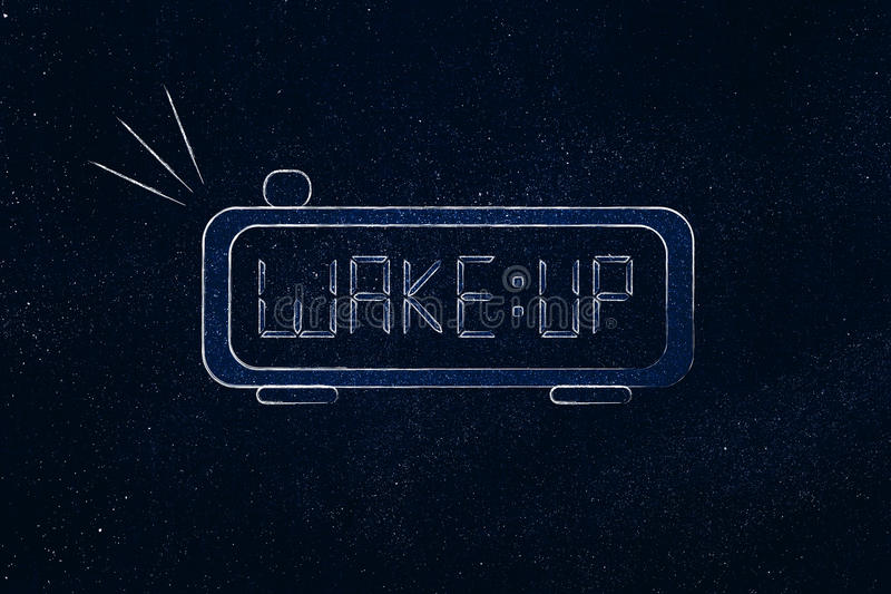 Digitaal alarm met woordactivering in plaats van tijd stock illustratie