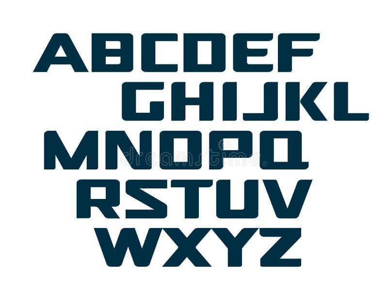 Digitaal alfabet in hoofdletters Futuristische technologiedoopvont Modern monogrammalplaatje Lettersoort van het Minimalistic de  vector illustratie