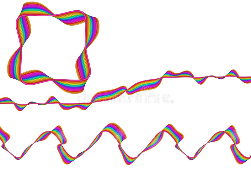 Digitaal Art Abstract Rainbow Flowing Ribbon vector illustratie