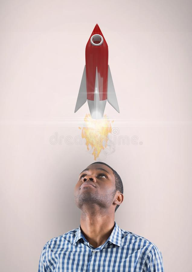 Digitaal beeld van de mens die omhoog raketlancering bekijken terwijl status tegen beige achtergrond vector illustratie