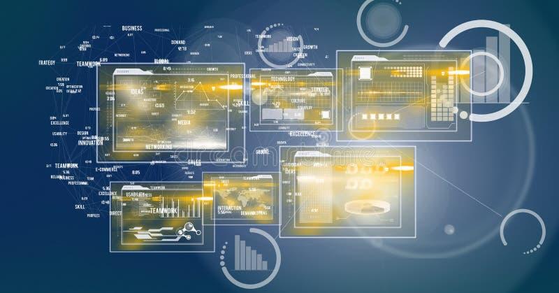 Digitaal Beeld van Digitale Dossiers en Statistische Symbolen stock illustratie
