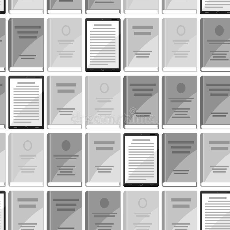 Digitaal bibliotheek naadloos patroon Reeks boeken en tabletten stock illustratie