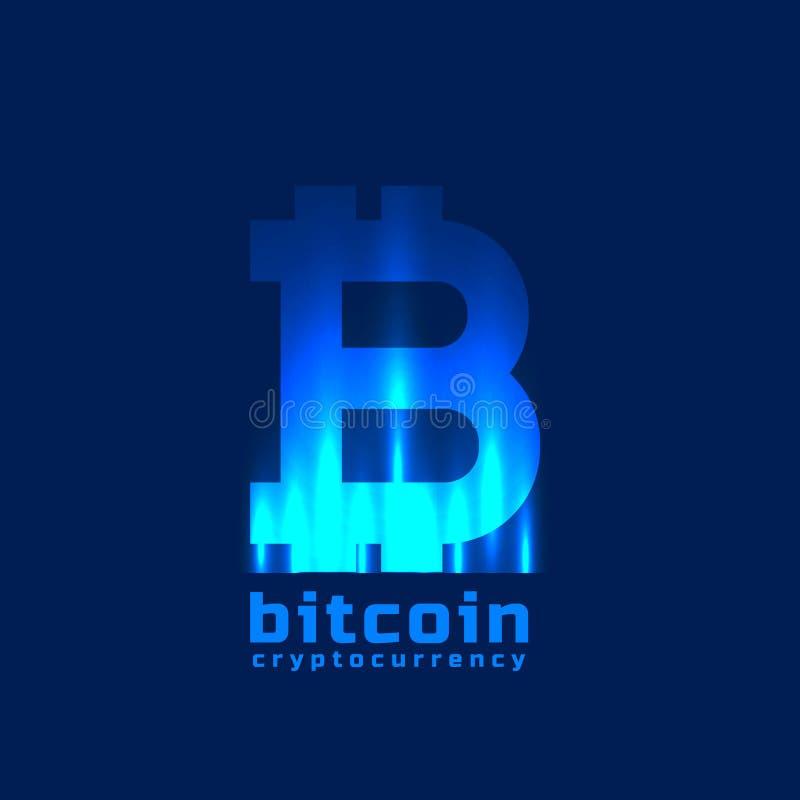 Digitaal bitcoinssymbool met lichteffect vector illustratie