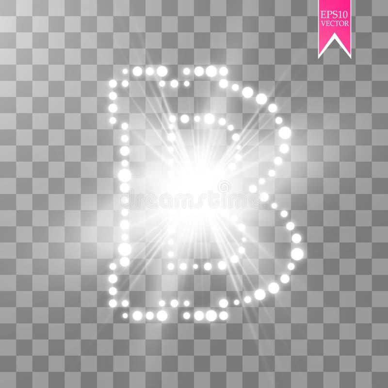 Digitaal bitcoinssymbool met lichteffect voor transparante backgraund vector illustratie