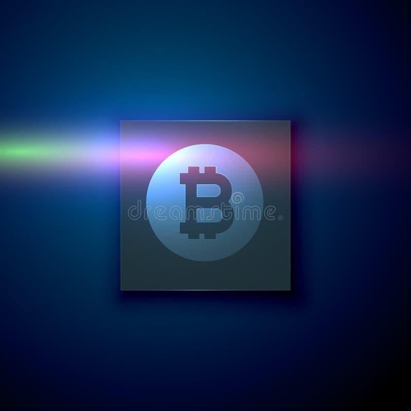 Digitaal bitcoinsymbool op donkerblauwe technologieachtergrond royalty-vrije illustratie