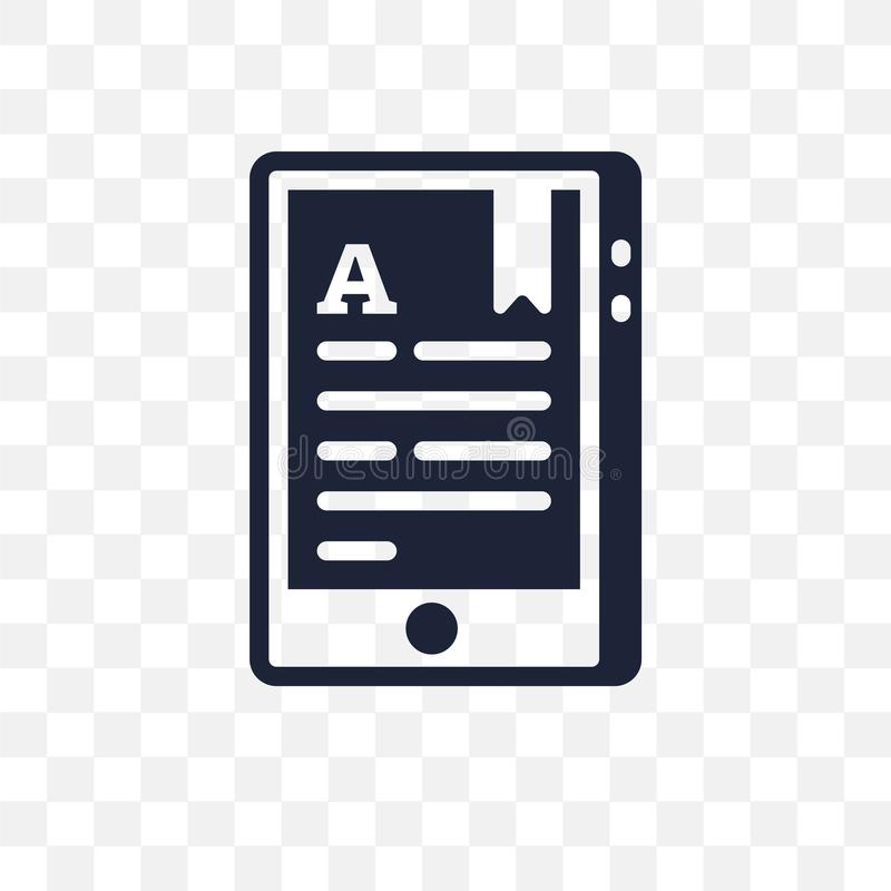 Digitaal boek transparant pictogram Het digitale ontwerp van het boeksymbool van O stock illustratie