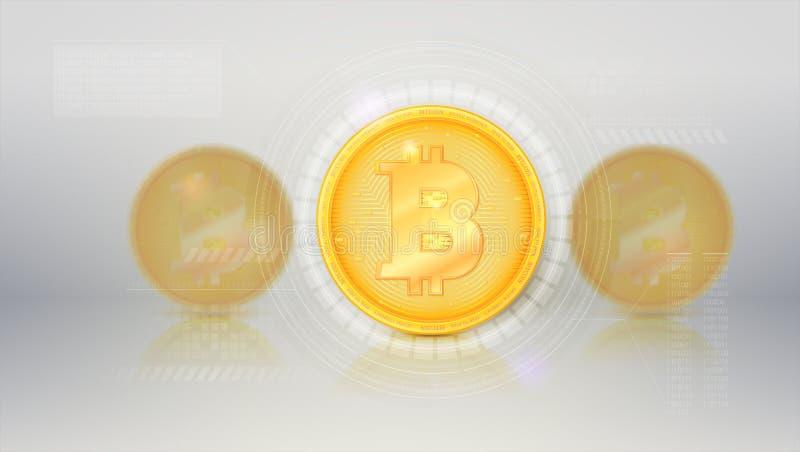 Digitaal concept dekkingspagina, landende pagina van website Bitcoin met UI-technologieconceptie, vectorinterface, HUD royalty-vrije illustratie
