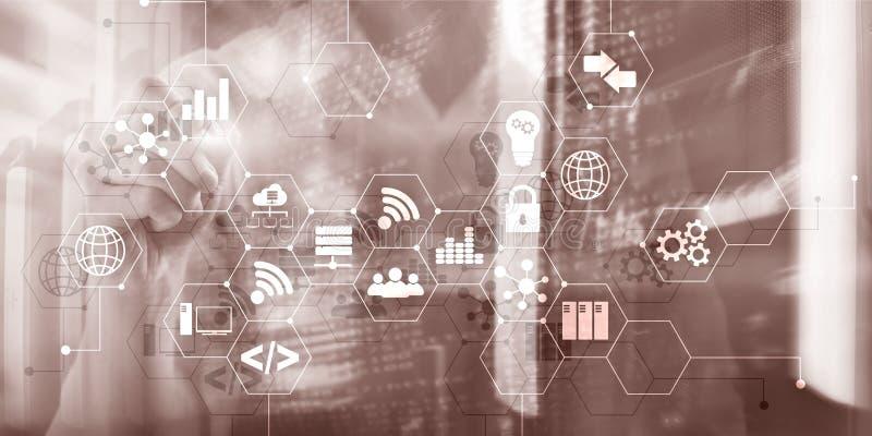 Digitaal concept Internet dingeninformatie- en telecommunicatietechnologie Dubbele blootstellingspictogrammen en serverruimte vector illustratie