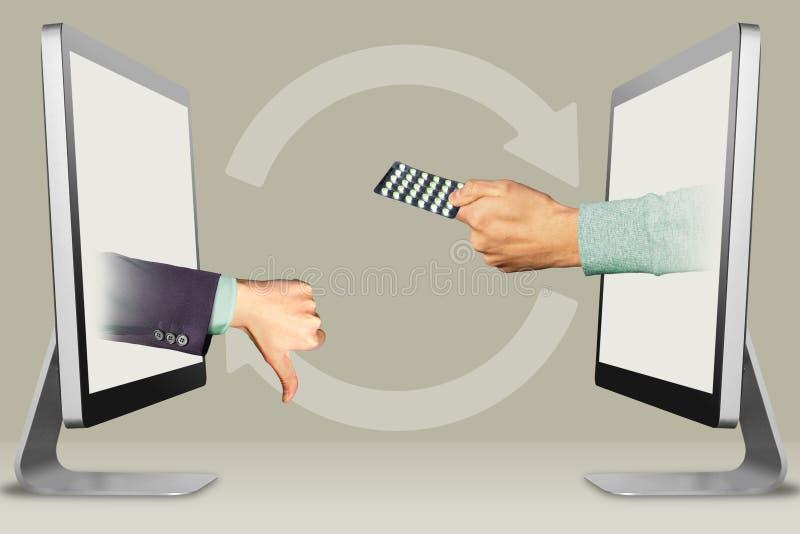 Digitaal concept, twee handen van computers duimen neer, afkeer en hand met geneeskundepillen 3D Illustratie stock fotografie