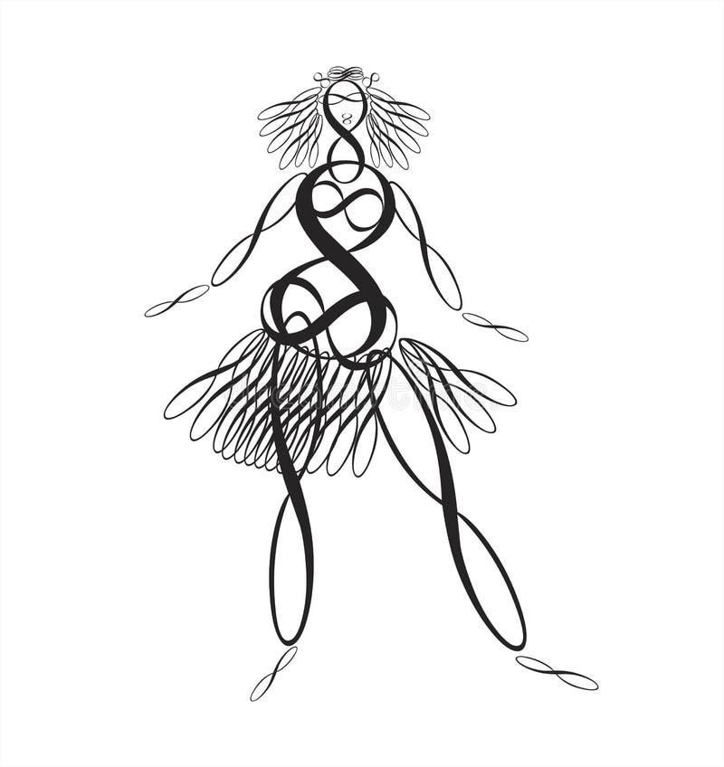 Digitaal dansend meisje royalty-vrije illustratie