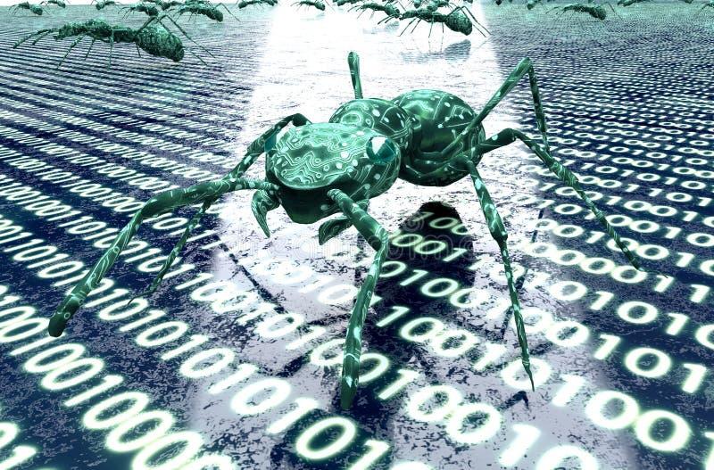 Digitaal de computerinsect van het veiligheidsconcept in elektronisch milieu stock afbeeldingen