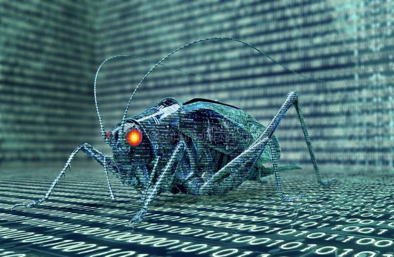 Digitaal de computerinsect van het veiligheidsconcept in elektronisch milieu, 3 royalty-vrije illustratie