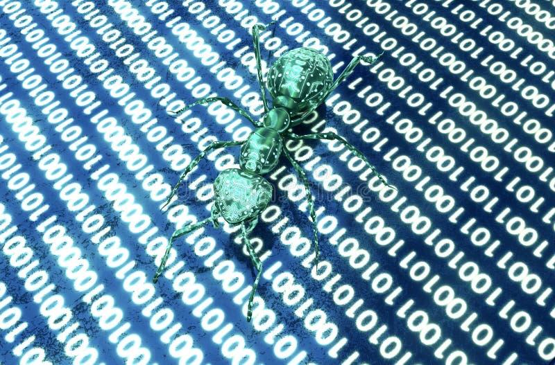Digitaal de computerinsect van het veiligheidsconcept in elektronisch milieu, 3 stock illustratie