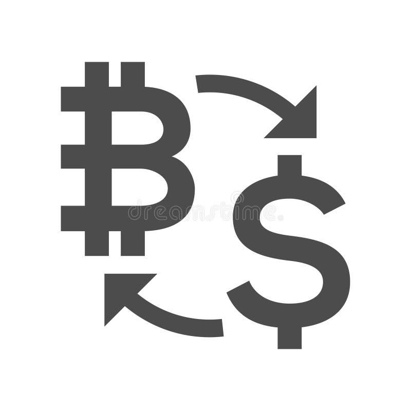 Digitaal de uitwisselingspictogram van het muntgeld, bitcoin, dollar Fintech blockchain, cryptografie, omzettingscommerciële expl royalty-vrije illustratie
