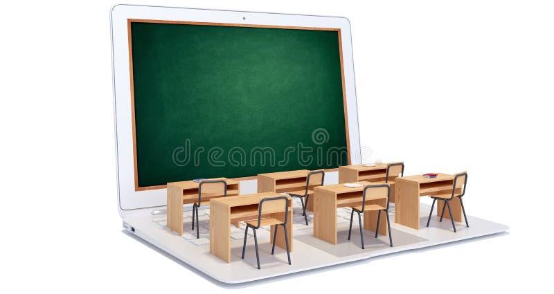 Digitaal die klaslokaal op wit wordt geïsoleerd stock illustratie