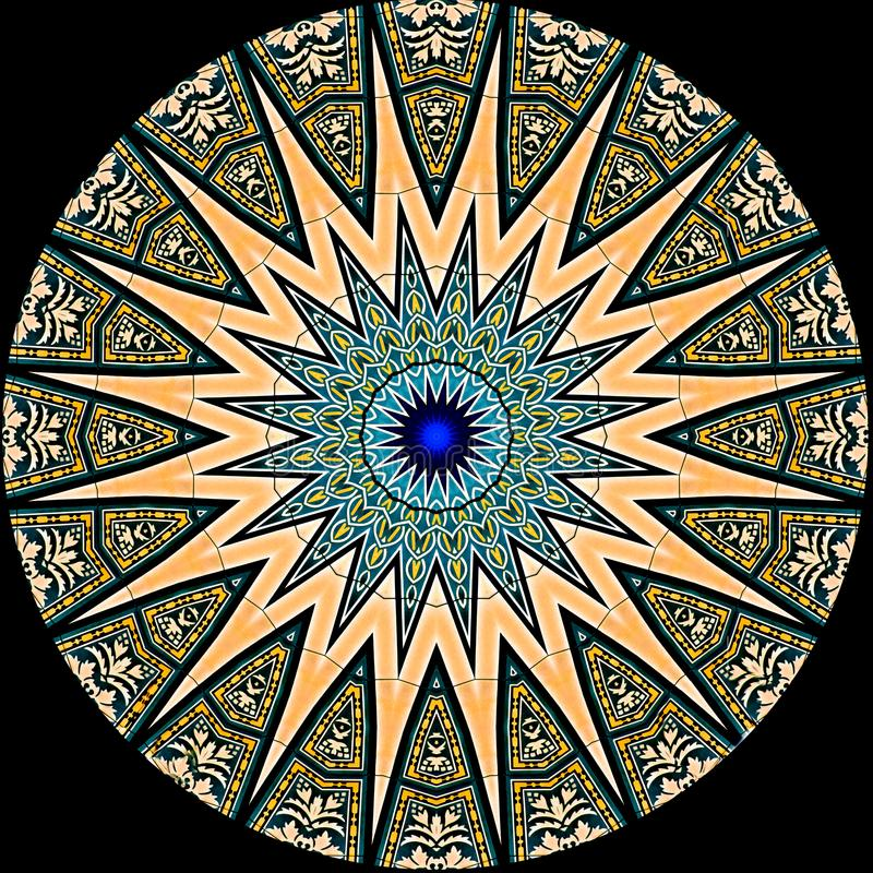 Digitaal die kunstontwerp, patroon met tegels door kaleidosco worden gezien vector illustratie