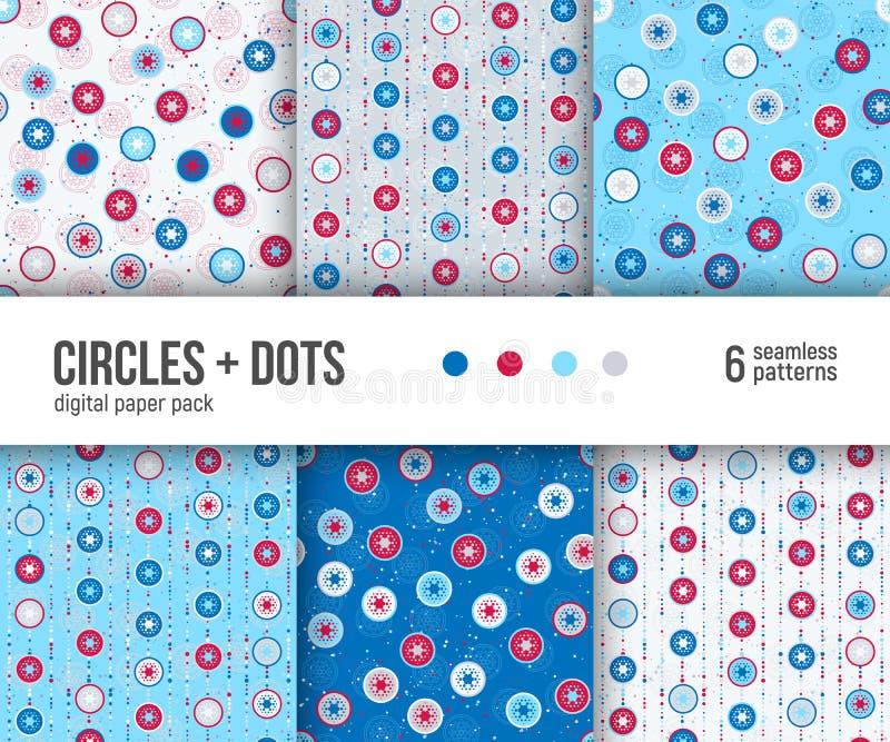 Digitaal document pak, 6 abstracte patronen, rode blauwe en witte geometrische ontwerpen met cirkels en punten stock illustratie