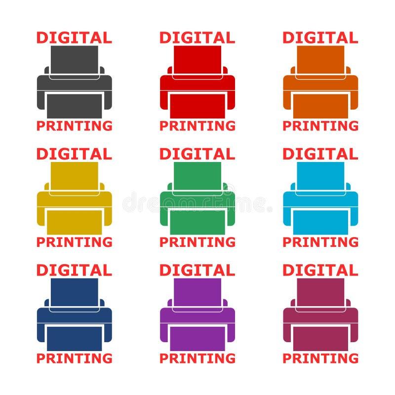 Digitaal Drukpictogram of embleem, kleurenreeks vector illustratie