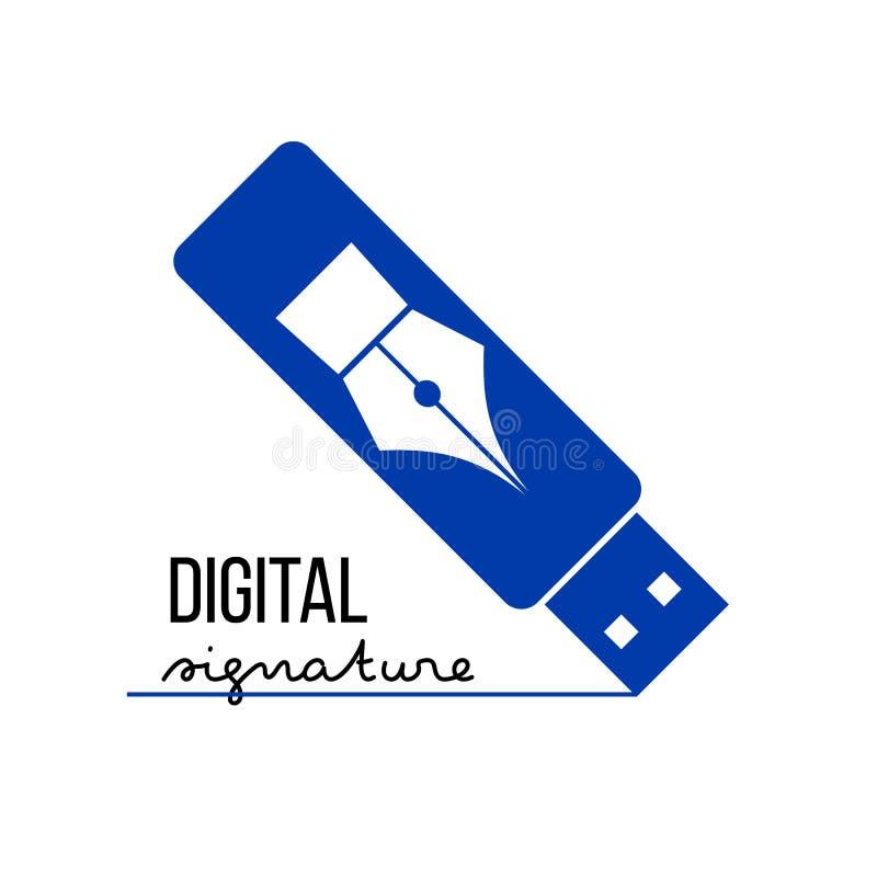 Digitaal elektronisch handtekeningsconcept royalty-vrije illustratie