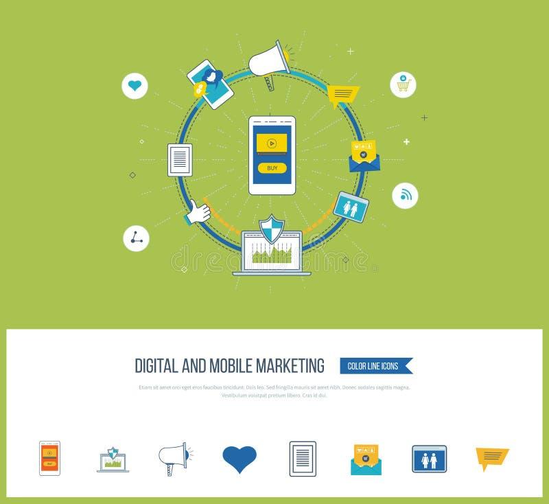 Digitaal en mobiel marketing concept Sociaal netwerk royalty-vrije illustratie