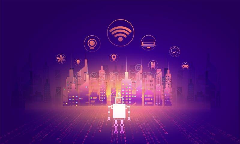 Digitaal en technologieconcept Slimme Stad, illustratie van sk stock illustratie