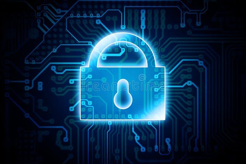 Digitaal Encryptieslot vector illustratie