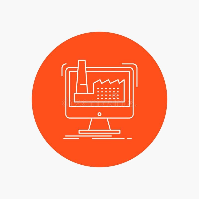 digitaal, fabriek, productie, productie, Pictogram van de product het Witte Lijn op Cirkelachtergrond Vectorpictogramillustratie stock illustratie