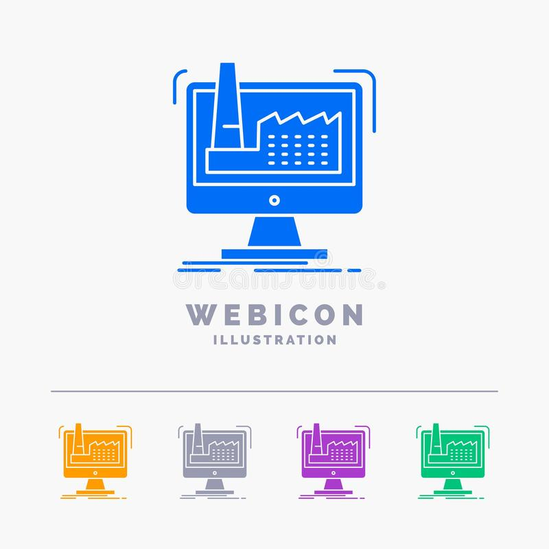 digitaal, fabriek, productie, productie, product 5 het Malplaatje van het het Webpictogram van Kleurenglyph op wit wordt geïsolee stock illustratie