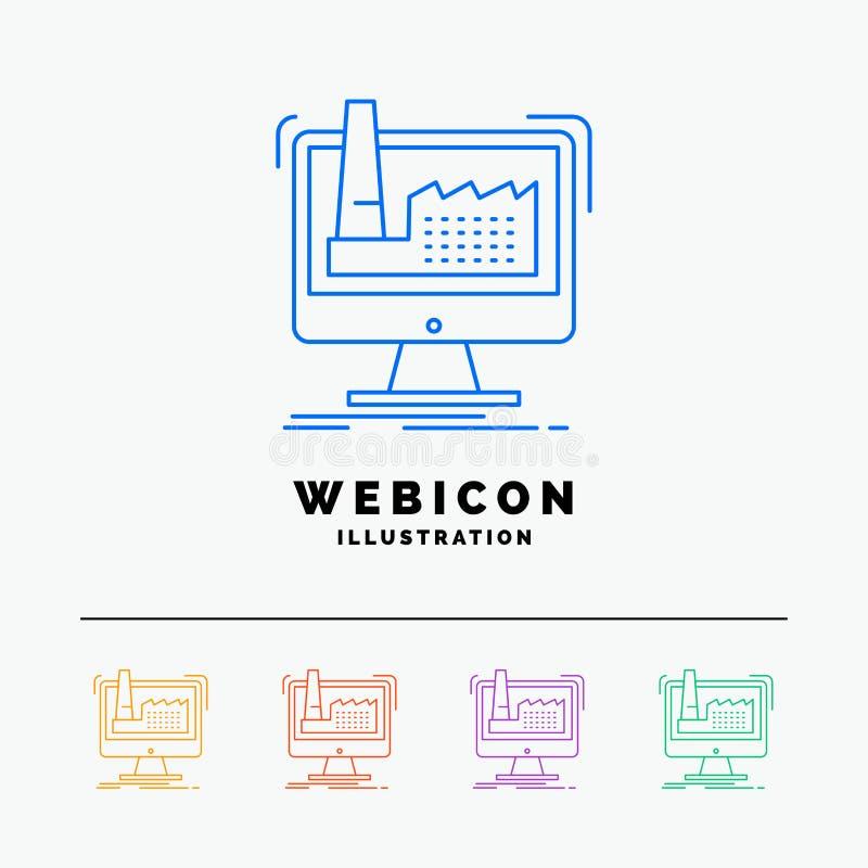 digitaal, fabriek, productie, productie, product 5 het Pictogrammalplaatje van het Rassenbarrièreweb dat op wit wordt geïsoleerd  vector illustratie
