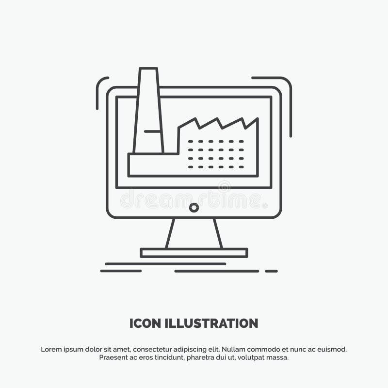 digitaal, fabriek, productie, productie, productpictogram Lijn vector grijs symbool voor UI en UX, website of mobiele toepassing royalty-vrije illustratie