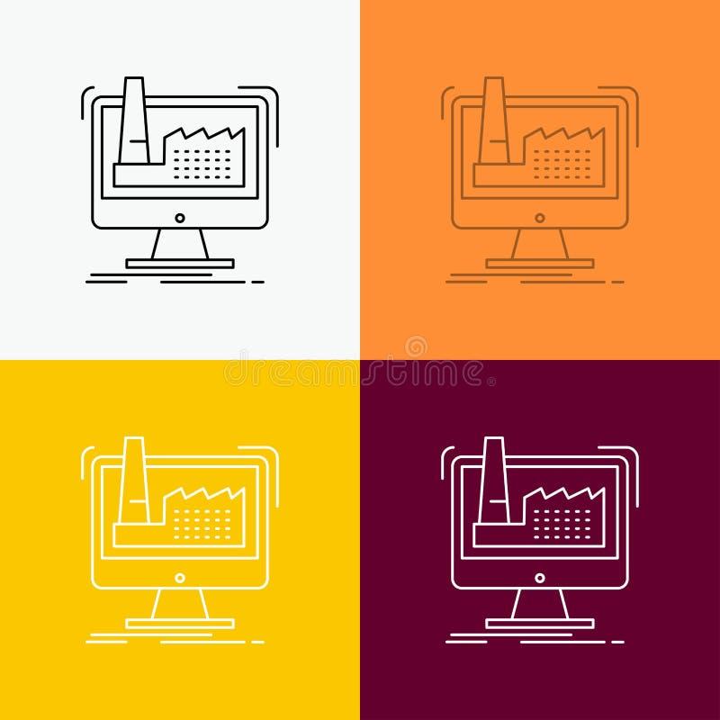 digitaal, fabriek, productie, productie, productpictogram over Diverse Achtergrond r royalty-vrije illustratie