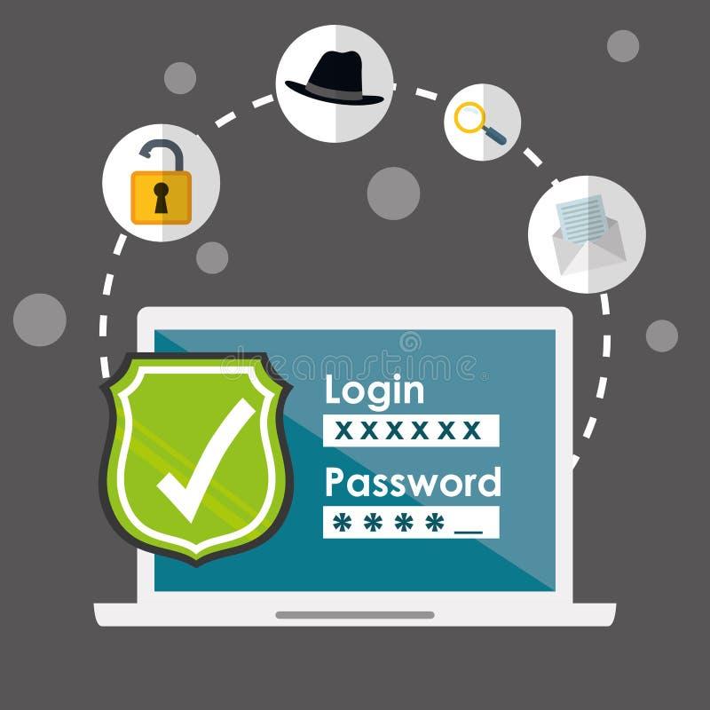 Digitaal fraude en het binnendringen in een beveiligd computersysteem ontwerp stock illustratie