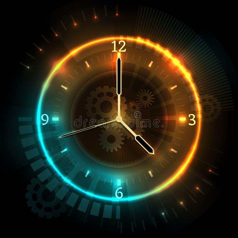 Digitaal futuristisch horloge met neongevolgen Tijd abstract vectorconcept met klok royalty-vrije illustratie