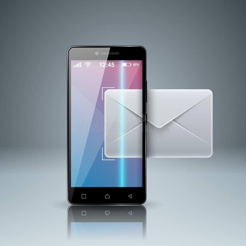 Digitaal gadget, het pictogram van de smartphonetablet Post, e-mailpictogram Busine stock illustratie