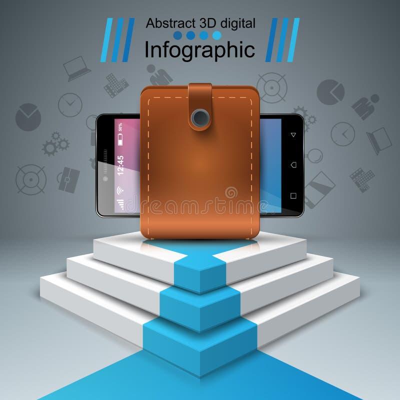 Digitaal gadget, smartphone - infographic zaken royalty-vrije illustratie
