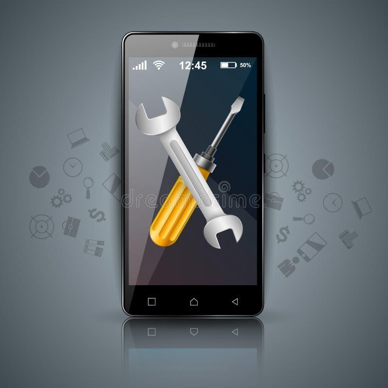 Digitaal gadget, smartphone, tablet, moersleutel, schroevedraaierpictogram Zaken Infographic stock illustratie