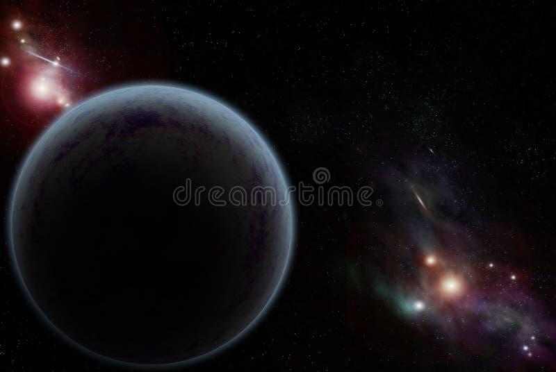 Digitaal gecreërd starfield met donkere planeet royalty-vrije illustratie