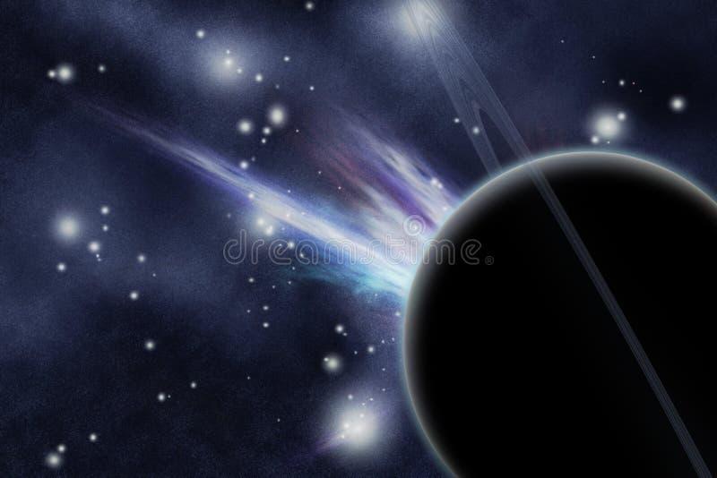 Digitaal gecreërd starfield met planeet vector illustratie