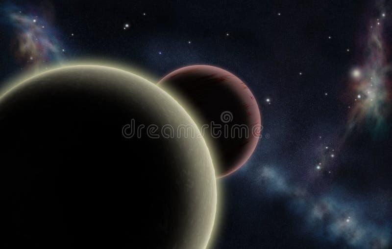 Digitaal gecreërd starfield met twee planeten vector illustratie