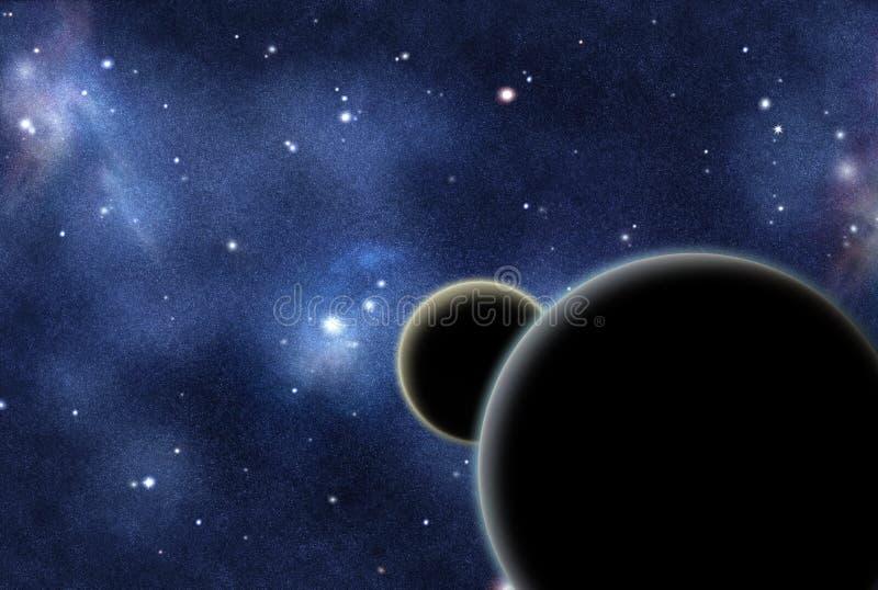Digitaal gecreërd starfield met twee planeten royalty-vrije illustratie