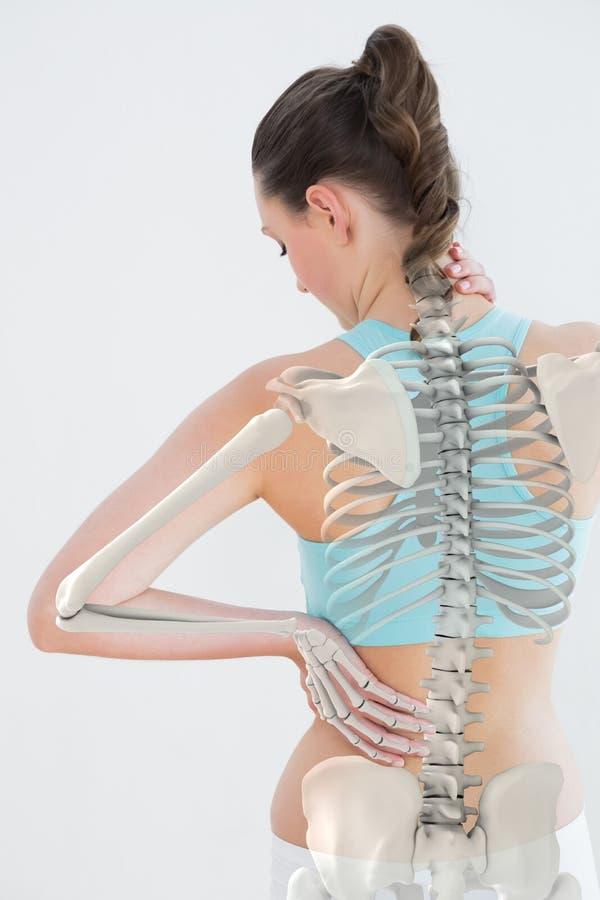 Digitaal geproduceerd beeld die van vrouw aan halspijn lijden vector illustratie