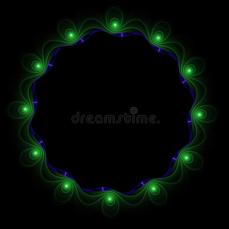 Digitaal geproduceerd beeld Kleurrijke fractal, elegante, gevoelige bloem om kader royalty-vrije stock afbeelding