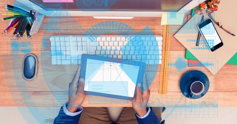Digitaal geproduceerd beeld van de tabletpc van de zakenmanholding stock afbeeldingen