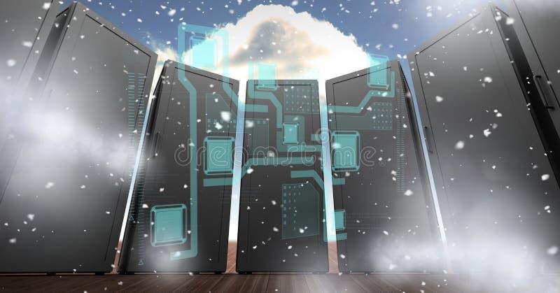 Digitaal geproduceerd beeld van servers met diverse pictogrammen in hemel stock illustratie