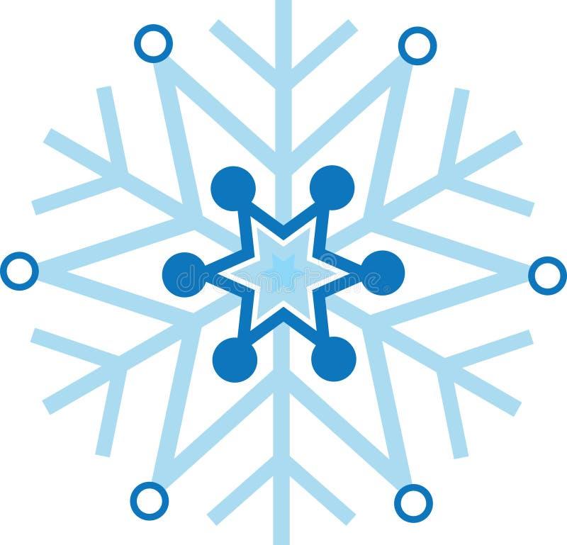 Digitaal geproduceerde blauwe sneeuwvlok royalty-vrije illustratie